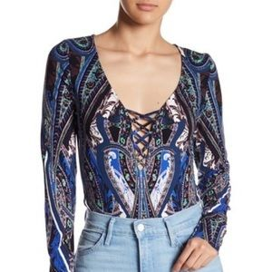 Free People Intimately Blue Paisley Body Suite